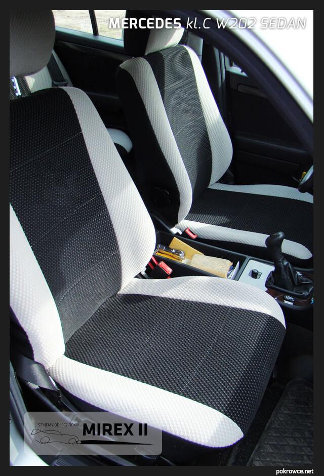 pokrowce biało czarne do mercedes w202 sedan