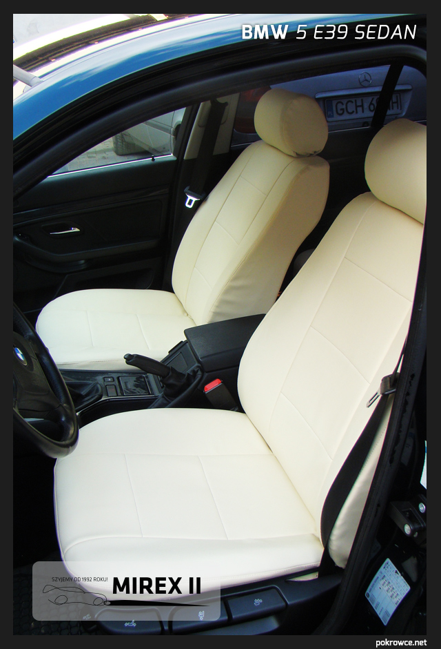 pokrowce jasna skóra bmw 5 e39 sedan