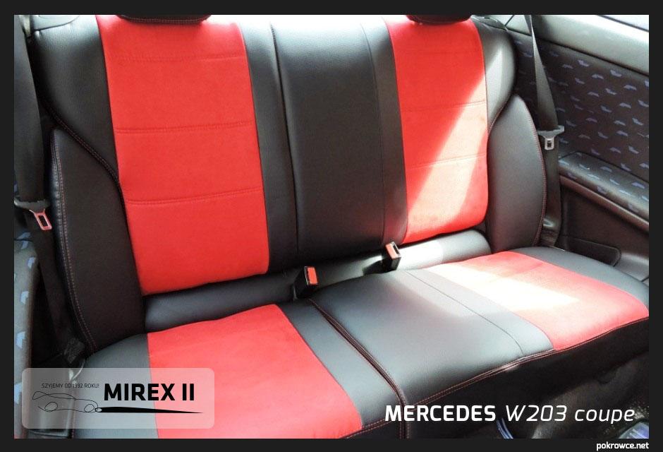 pokrowce czarno czerwone do mercedes w203 coupe