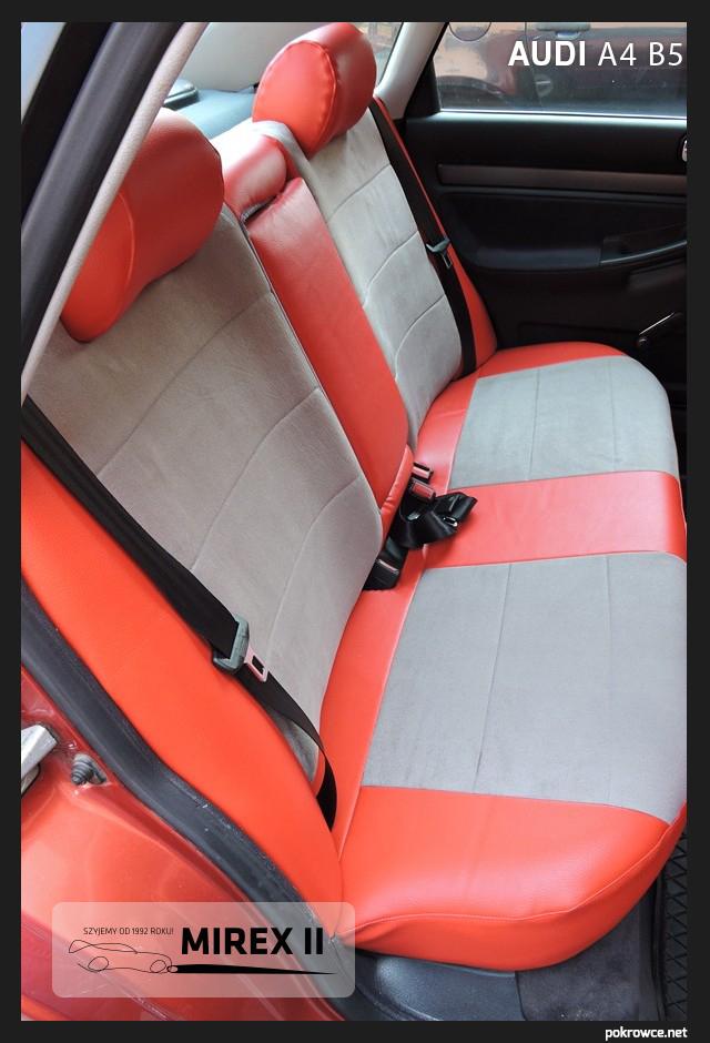 pokrowce czerwone skórzane Audi A4 B5