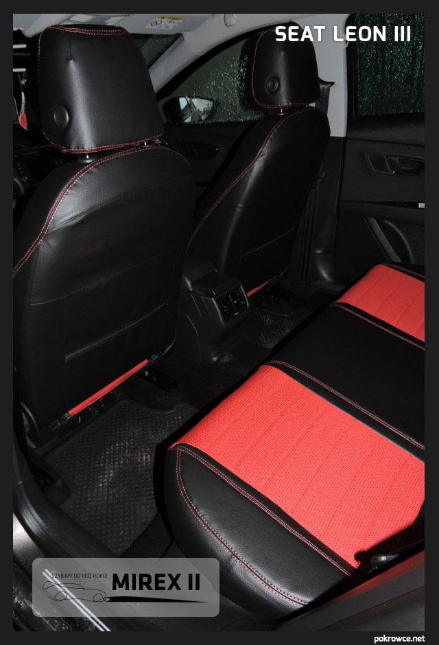 pokrowce czerwono czarne do seat leon 3