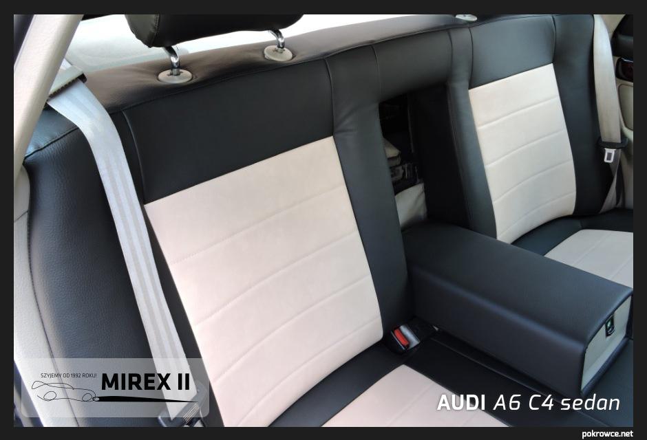 pokrowce skórzane biało czarne audi a6 c4 sedan