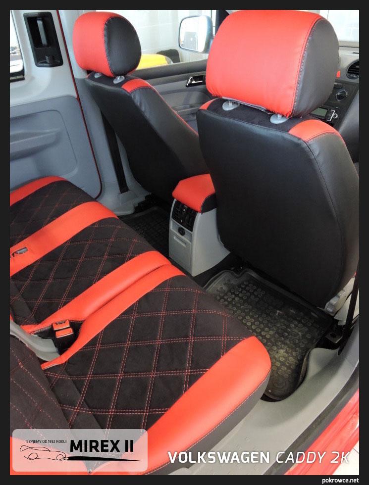 pokrowce czerwono czarne vw caddy 2k